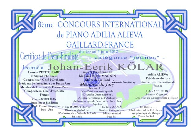 Tunnustame Johan- Eerik Kõlarit osalemise eest rahvusvahelisel klaverikonkursil Prantsusmaal!